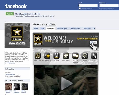 Страница армии США в Facebook