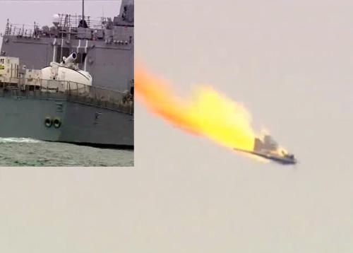 лазерная пушка на борту военного корабля сбивает дрона