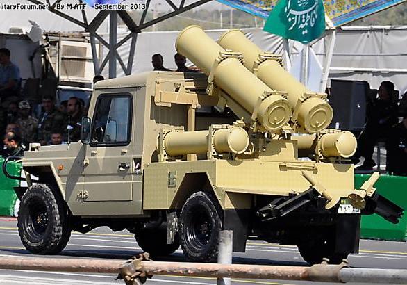 внедорожники Сепехр с двумя направляющими реактивной пусковой установки Falagh