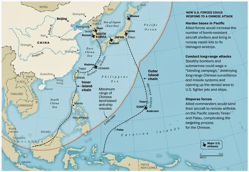 карта обозначения рубежа сдерживания китайских сил