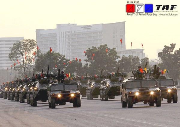 Военный парад гвардейских частей в честь Дня вооруженных сил Таиланда