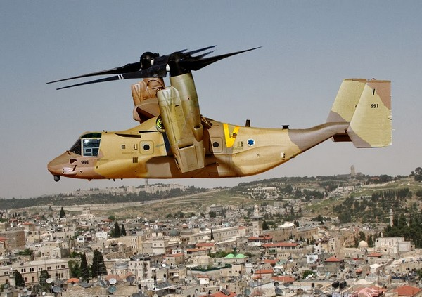 Рисунок конвертоплана Bell Boeing V-22B Osprey в окраске ВВС Израиля