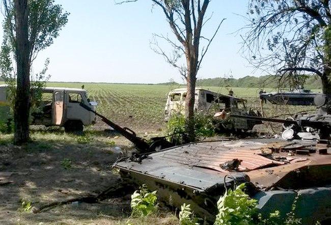 Фото с расстрелянного блокпоста украинской армии