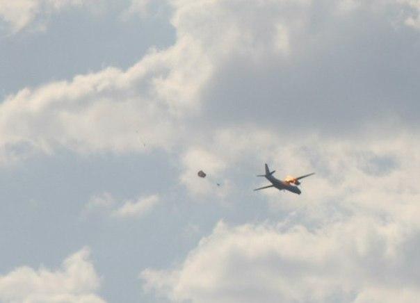 покидание экипажа подбитого Ан-30 ВС Украины
