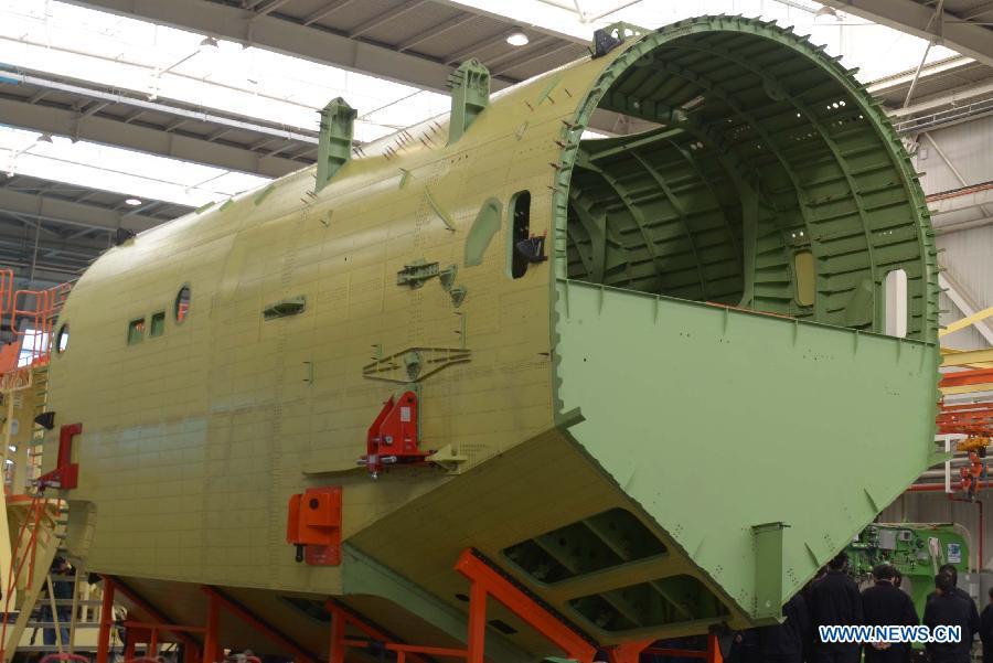центральная часть фюзеляжа китайского самолета-амфибии AG600