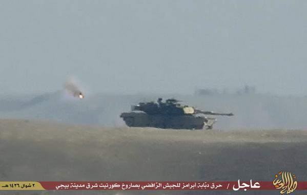 ISIS hits an Iraqi Army Abrams tank with a Kornet ATGM near Baiji Iraq 1