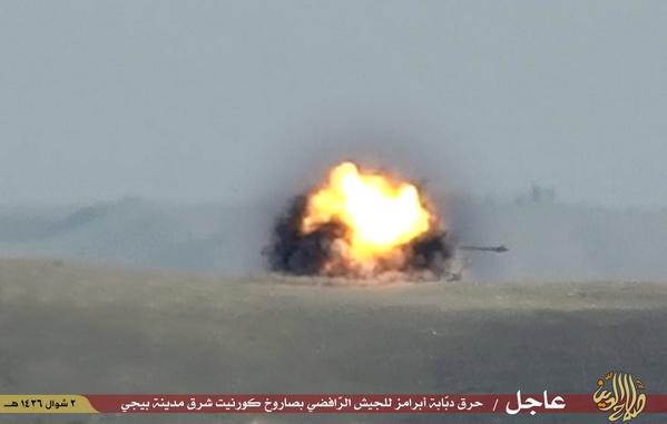 ISIS hits an Iraqi Army Abrams tank with a Kornet ATGM near Baiji Iraq 2