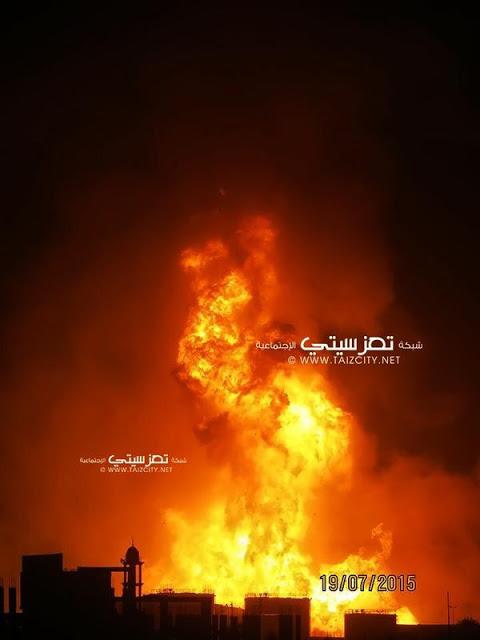 Yemen war - Taiz cooking gas storage explosion aftermath in Yemen 4