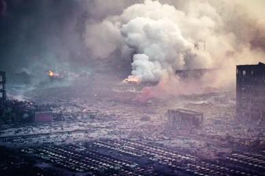 Последствия взрыва в  в китайском Тяньцзине