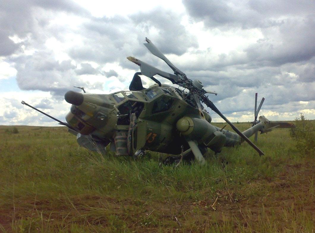 Авария Ми-28Н борт №43 на Гороховецком полигоне, 19.06.2009 г. (http://www.ntgs.ru).