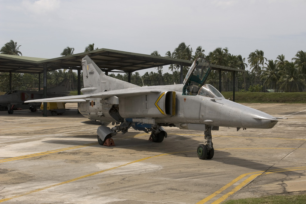 MiG.27M SFS5307 of SLAF 12 sq in front of its sun shed at Colombo-Katunayake on 9 February 2011.