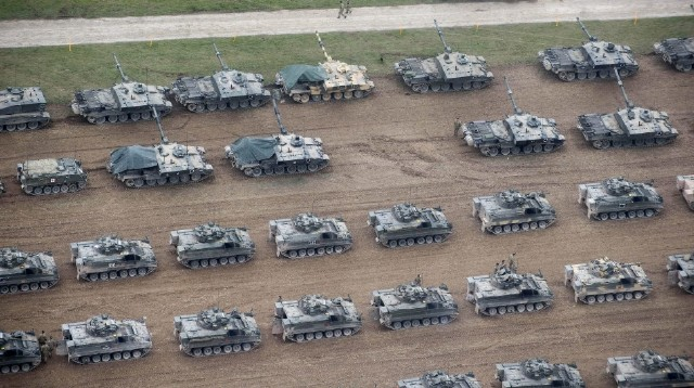 British Army - Challenger 2 tanks on Salisbury Plain Training Area during Exercise Tractable 5