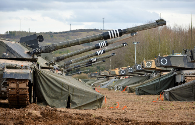 British Army - Challenger 2 tanks on Salisbury Plain Training Area during Exercise Tractable 6