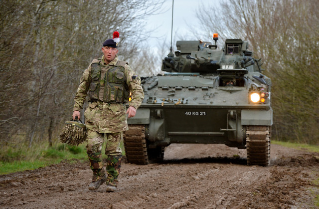 British Army - Challenger 2 tanks on Salisbury Plain Training Area during Exercise Tractable 7