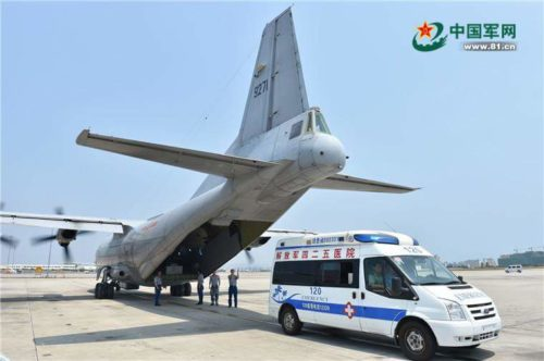 Chinese Navy PLAN Y-8X long-range maritime patrol aircraft lands for first time on Fiery Cross Reef 1