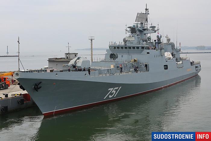 Фрегат Адмирал Эссен у причальной стенки в военно-морской базе города Балтийск после перехода с завода «Янтарь»