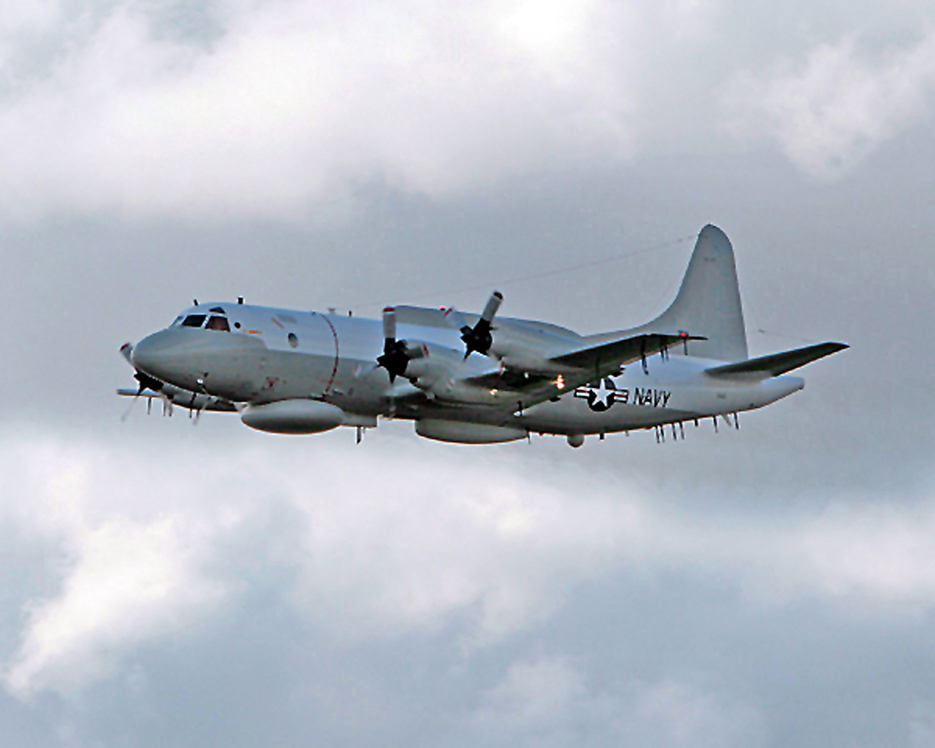 060329-N-9999X-001 (Mar. 29, 2006)   The first completed US Navy (USN) EP-3E Aries II conversion aircraft departs from the L-3 Communications modification facility in Waco, Texas (TX). The aircraft is a four-engine, low-wing, electronic warfare and reconnaissance aircraft utilizing state-of-the-art electronic surveillance for its primary mission.  The aircraft is a new version of the USN P-3C aircraft and it's heading to Naval Air Station (NAS) Patuxent River, Maryland (MD), for testing and fleet training.  U.S. Navy official photo (RELEASED) (SUBSTANDARD)