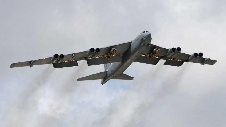 "CREDIT: Senior Airman Carlin Leslie/US Air Force American B-52 bombers are ""ready and able"" to strike ISIS targets in Iraq and Syria, a top Air Force official confirmed Monday."