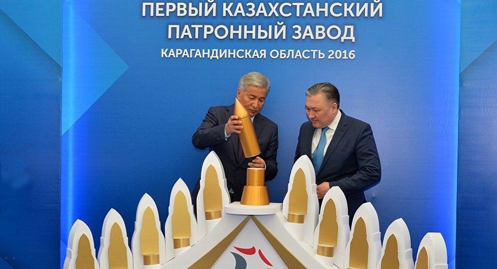 Министр обороны Республики Казахстан Имангали Тасмагамбетов дал старт строительству первого казахстанского патронного завода 14 марта 2016