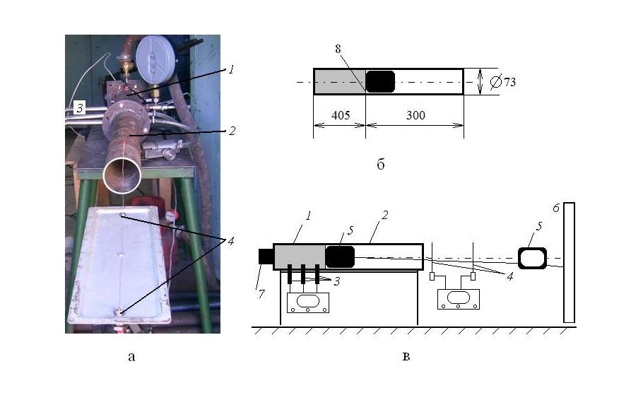 Рис. 1. Общий вид газодетонацийнои установки - а; размеры секций газодетонацийнои установки - б; 1 -детонацийна секция; 2 - секция ускорения; 3 - пьезодатчики давления; 4 - пьезодатчики; 5 - тело, которое мечется; 6 - мишень; 7 - система инициирования детонации; 8 - мембрана